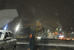 Night ghost (modestmoze) Tags: road street city blue winter red sky brown man black green cars window glass grass yellow night person grey lights brother coat indoors cap inside snowing bro lithuania vilnius 2016 500px
