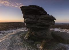 Ox Stones (l4ts) Tags: snow sunrise landscape spring heather peakdistrict sheffield goldenhour darkpeak moorland gritstone southyorkshire burbagemoor oxstones britnatparks gritstonetors