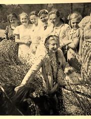 Maiknigin 1.Mai 1937 (BrigitteE1) Tags: white green germany traditions birch tradition customs birke 1937 mecklenburg 1mai horsedrawncarriage 1stofmay brauchtum pferdewagen ancientcustoms maiknigin altesbrauchtum