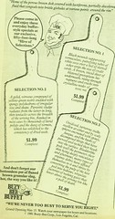 """1981 LA Yuppie Food - """"reeking gases that hover over the serving bin like a pall of death"""" - Better Than Quiche! (ramalama_22) Tags: old food menu lunch cuisine death restaurant good rude days bin nostalgia card credit receipt service account ethnic 1980s sludge serving yuppie generic pretentious quiche parasitic overpriced gases pall expense applicant reeking"""
