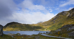A mixed bag of travel weather (lunaryuna) Tags: road travel sky panorama cloud lake beauty sunshine weather norway landscape hills lunaryuna cloudscape rainclouds lofotenislands sunrain lofotenarchipelago