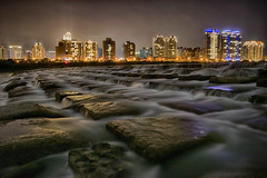 新竹豆腐岩 [Explored] (tsaiian) Tags: road city travel urban building water beautiful rock architecture night river landscape photo office high bravo asia long exposure cityscape view shaped outdoor background famous tofu hsinchu taiwan scene growth hdr touqianriver