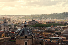 Roma -Panorama (Luca Schiavello) Tags: city sunset sky italy sun rome colors yellow clouds nikon bew eternal fori d90
