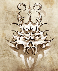 Sketch of tattoo art, skull mask with tribal design (noor.khan.alam) Tags: black art beautiful smile silhouette monster tattoo illustration vintage dark hair asian design sketch flying spain ancient colorful pretty pattern dragon power dress graphic artistic drawing decorative background character magic grunge traditional tail cartoon chinese decoration creative style icon gargoyle elf fairy fantasy claw clipart satan octopus devil warrior backdrop conceptual eastern element tatto