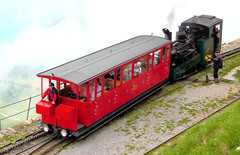 Brienz Rothorn Bahn - Locomotive No. 5, built 1891 for the WAB, arrives at the Summit Station with its train on the 9th July 2012 (trained_4_life) Tags: switzerland brb berneseoberland cograilway brienzrothornbahn rackrailway brienzrothornsummitstation