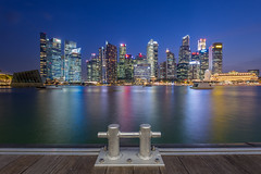 Singapore at the dock (BP Chua) Tags: city blue sunset reflection water buildings river landscape boat dock nikon singapore cityscape colours wideangle commercial d750 cbd bluehour