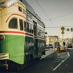 Philadelphia, old school tram car riding along the street thumbnail