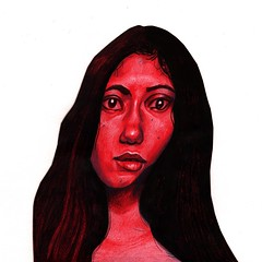 Red Front (Nemolom) Tags: coloredpencils papercut brushpen