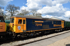 Translator: Class 73 at Horsted Keynes (The Railway Journal) Tags: charity robin diesel shed railway trains spoon special brake bluebird tracey gala bluebell shoebox translator duffle class66 4tc gbrailfreight class47 class73 templecombe dieselgala gbrf colasrailfreight