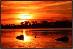 Green Lake Sunset 26 April (florahaggis) Tags: sky lake water canon reflections colours silhouettes australia victoria greenlake drought waterfowl horsham birdlife pc3400 westernhighway wimmera cloudsstormssunsetssunrises