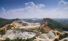 quary factory (sydeen) Tags: road blue sky cloud mountain industry nature rock stone mine industrial factory open outdoor earth hill machine ground aerial mining equipment dirt pile environment dust heavy dig quarry excavation quary excavate