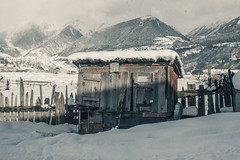 Shack of the Rising Sun (Jonathan Temo Brown) Tags: road wood travel winter mountain snow mountains building fog architecture digital canon vintage georgia photography eos cabin woods village snowy foggy shack roads 500d clody svaneti mestia