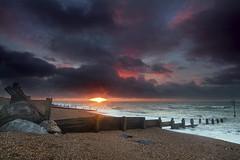 Before the rain (sinky 911) Tags: sea seascape colour beach clouds sunrise reflections coast waves groins seadefences