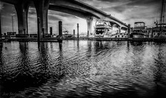 Finding Beauty Amongst Concrete: Textures in Monochrome (JDS Fine Art & Fashion Photography) Tags: bridge sunset sky bw art texture water monochrome clouds docks reflections boats cityscape shadows artistic patterns magic dramatic atmosphere cinematic magical urbanbeauty