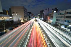 "Burning Exit  ""Nagoya"" (Shin-Nagoya) Tags: longexposure japan lowlight nikon asia nagoya nightview nightphoto fareast aichi afterdark citynight lighttrail lightstream urbannight 14mm aichipref nightimage nagoyacity localstreet carlighttrail nightcityscape"
