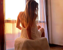The Light that illuminates Our Wintry Days ... (MargoLuc) Tags: winter light portrait woman sunlight white me window girl backlight self hair golden moments mood dress expression thoughtful blond soul romantic dreamy lovely february