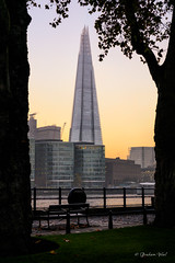 Framing the shard (grahamvphoto) Tags: city uk travel sunset vacation england holiday building london tourism water thames architecture river bench landscape cityscape outdoor tall shard