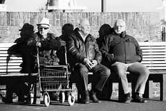 En toen............. (rienschrier) Tags: gossip flushing bejaarden mannen nederland holland zeeland vlissingen rust straat mensen boulevard zwartwit blackandwhite sun relax oldpeople people street