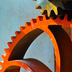 Grist (Joanne Dale) Tags: blue light shadow orange ontario canada abstract history industry work labor machine industrialrevolution labour stcatharines minimalism gears gristmill thegrind coginthewheel coginthemachine joannedale wheelcog nikond7200
