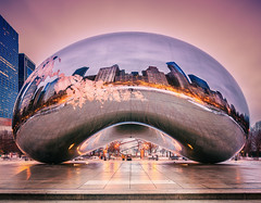 Cloud Gate (Zouhair Lhaloui) Tags: street city sunset urban streetart chicago reflection building art architecture illinois midwest cityscape cloudgate thebean secondcity windycity chicagoarchitecture chicagobean americancity chicagolandmark rokinon24mf35tiltshift