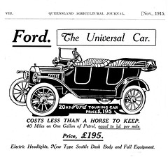 """1915 Ford -- """"Costs Less Than A Horse To Keep"""" (JFGryphon) Tags: ford touringcar horselesscarriage 1915ford 20horsepower queenslandagriculturaljournal universalcar electricheadlights queenslandmotoragencyltd scuttledashbody longstrokeengine"""