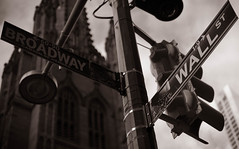 New York_Broadway-Wall Street_2.jpg (Stang-33) Tags: road christmas street new york city nyc travel vacation urban usa white black tourism church sign horizontal wall sepia downtown close place manhattan district united famous stock broadway landmark location stocks direction trading points destination intersection heroes states portfolio capitalism laterne financial ampel exchange direct wealth hochhaus uhr trader indicate