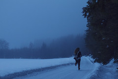 (Ane Lundeby) Tags: woman mist snow cold girl norway misty fog dark foggy running run