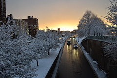 winter commuters (hansntareen) Tags: road winter sunset snow sunshine traffic clearingstorm