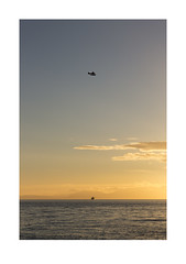 Untitled (Timing) (michaeladkins.co.uk) Tags: travel sunset sea sky seascape canada vancouver digital landscape outdoors boat ship flight helicopter luck link chance shipping timing