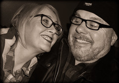 Be Happy . Smile . (CWhatPhotos) Tags: pictures camera two portrait woman man love smile face sepia that happy photography glasses foto durham view faces image artistic pics head joy wide picture smiles happiness pic tint olympus images have photographs together photograph fotos heads laugh specs below which contain omd em10 smilers cwhatphotos