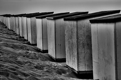 Cabannes (BartvanDam) Tags: bw holland beach monochrome dutch grey blackwhite mood pentax zeeland cabins cabannes bartvandam