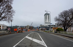 No Traffic About (Jocey K) Tags: road street trees newzealand christchurch sky cloud signs architecture buildings hills cranes cbd porthills manchesterst manchesterstbridge