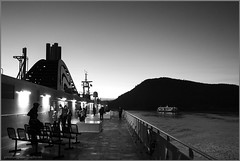 night deckBW (tesseract33) Tags: world ocean travel light sea sky blackandwhite art monochrome boats outside nikon nightime ferries activepass tesseract33 peterlangphotography squamishphotographer peterlangphotographynet