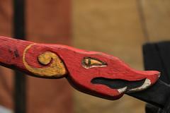 Viking Tiller (Derbyshire Harrier) Tags: wood york winter yorkshire carving sail vikingship craftmanship 2016 vikingfestival tillar parliamentstreetcamp