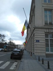 Flags half-mast in brussels. (pierre.paklons) Tags: brussels is airport belgium belgique metro islam belgië bruxelles morocco terror brussel zaventem terreur molenbeek maelbeek brusselscapitalofeurope