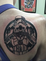 storm trooper tattoo by Wes Fortier at Burning Hearts Tattoo Co. - Waterbury, CT