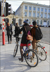 Photo challenge 2016 - 10/52 - Wait (chando*) Tags: brussels people pavement streetphotography bruxelles bicycles pedestrians bikers gens trottoir vélos placeroyale traficlight photochallenge feurouge cyclistes piétons bicyclettes