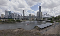 Story Bridge (ZeroOne) Tags: bridge sky clouds buildings river boats outdoors boat cityscape australia brisbane storybridge brisbanecbd epl3