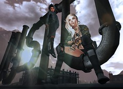Pipeline (Flit Ulrik // Agent Orange) Tags: life family roof light shadow urban sun game female clouds effects robot video kid friend punk post diesel wind avatar pipes apocalypse avi beam sl secondlife future second cameo cyborg adopted jinx android cyber apocalyptic shipman dystopia apoc
