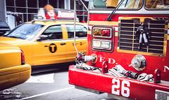 Batman on New York (fergarlaura) Tags: york red newyork car yellow nikon 26 manhattan taxi batman fireman nueva estadosunidos friki eeuu bombero