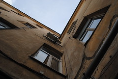 Corner (modestmoze) Tags: old blue windows sky brown white black reflection lines yellow metal architecture corner buildings outside outdoors grey fan spring pipe wires cracks 2016 500px