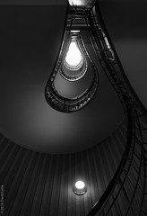 stairway to the light (D-j-L) Tags: blackandwhite bw monochrome canon stair prague indoor stairway staircase czechrepublic inside cz s100 hlavnmstopraha