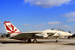 162594 / 200 NL. (VF-101, MSN 516) Crashed near Key West, FL Oct 3, 2002. Both crewmembers ejected safely. Cause of crash was compresslr stall in one engine. Starboard fun and rudder discovered washed up in beach in West Cork, Ireland May 5, 2006. (Gerrit59) Tags: f14a