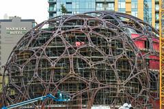 Framing for Amazon Spheres (Brendinni) Tags: architecture buildings construction amazon steel morrow seattlewa constructioncrane constructionindustry liebherrconstruction amazonblock19