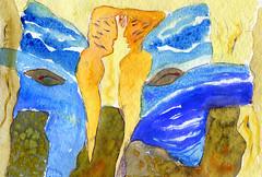 Watercolour of Gemini, the Twins (elizabatz.jensen) Tags: art butterfly painting twins horoscope gemini astrology airsign