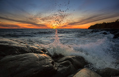 Splash_ (JLindroos) Tags: sun seascape colors clouds zeiss canon finland rocks colorful horizon wave lee splash pori reposaari jlindroos