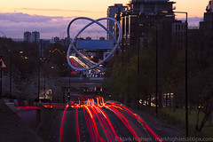 View from the hill (singulartalent) Tags: longexposure light sunset england london water thames reflections river unitedkingdom roundabout gb bluehour streaks wandsworth
