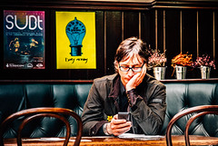 The Waiting Game (darren.cowley (away, back late June)) Tags: wood nottingham man reading glasses pub waiting chairs expression candid text indoor conversation response maltcross thewaitinggame darrencowley