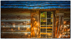 Wegmann's Window (dougkuony) Tags: blue window gold cabin hdr itasca itascastatepark wegmanncabin