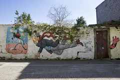 Cool street art in Porto, Portugal (jackie weisberg) Tags: art portugal smart flying interesting eu porto clever flyingman coolstreetart manflying jackieweisberg